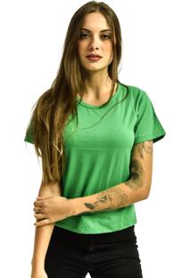 Camiseta Rich Young Baby Look Básica Lisa Malha Verde