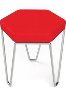 Banco Hexagon Vermelho Estrutura Cromada 45 Cm (Larg) - 41033