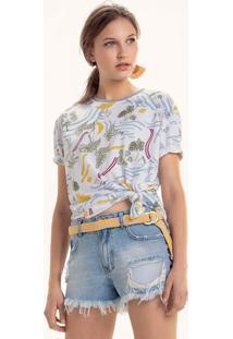 T-Shirt Estampada Em Malha Com Barra E Mangas Sem Costura