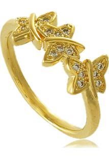 Anel Borboletas Com Detalhes Em Zircônias 3Rs Semijoias Dourado
