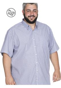 Camisa Plus Size Bigshirts Manga Curta Listrada - Preta/Azul