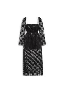 Vestido Crochet Couro - Preto