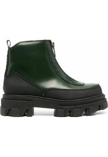 Ganni Ankle Boot Com Fechamento Por Zíper - Verde