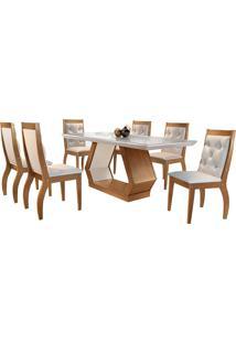 Conjunto De Mesa Para Sala De Jantar Ibis Tampo De Vidro Com 6 Cadeiras Agata-Rufato - Veludo Creme / Off White / Imbuia
