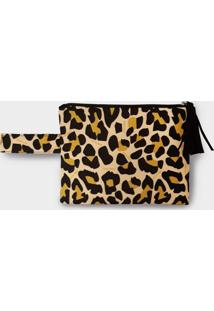 Necessaire Nita Faco Leopardo Amarelo - Amarelo - Feminino - Dafiti