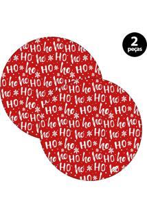Capa Para Sousplat Mdecore Natal Ho Ho Ho! Vermelho 2Pçs