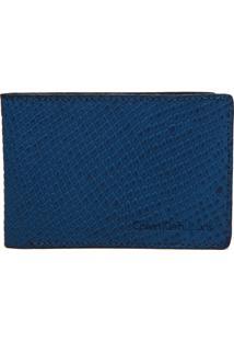 Carteira Couro Calvin Klein Croco Azul