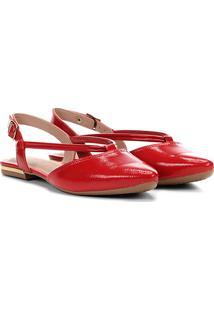 Sapatilha Chanel Em Verniz Dakota Bico Fino Feminina - Feminino-Vermelho