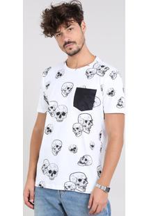 Camiseta Masculina Estampada De Caveiras Com Bolso Manga Curta Gola Careca Branca