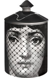Fornasetti Vela Com Suporte Preto Em Porcelana Modelo 'Burlesque'.