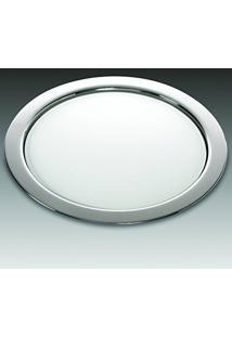 Bandeja Smooth Em Prata Com Vidro Branco - Wolff - 36X2 Cm