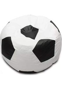 Puff Bola De Futebol Preto/Branco - Good Pufes