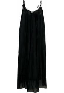 Stella Mccartney Vestido Midi Franzido Com Alça De Corrente - Preto