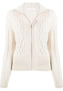 See By Chloé Aran Knit Zipped Cardigan - Neutro