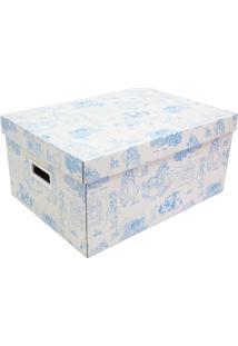 Caixa Organizadora Baby- Azul Claro & Branca- 20X31Xboxmania