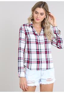 Camisa Feminina Estampada Xadrez Manga Longa Off White