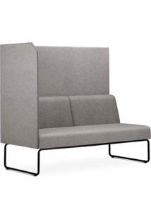 Sofa Privativo Pix Com Lateral Direita Aberta Assento Mescla Cinza Claro Base Aco Preto - 54980 - Sun House