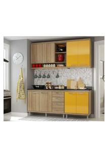 Cozinha Compacta Completa Multimóveis Com 4 Peças Sicília 5819 Argila/Amarelo