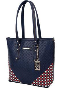 Bolsa Shopping Com Relevos & Tressê - Vermelha & Azul Mafellipe Krein