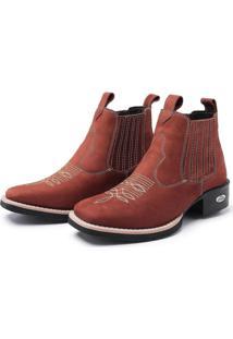 Bota Pessoni Boots & Shoes Botina Texana Pessoni Boots Couro Cano Curto Marrom - Marrom - Feminino - Dafiti