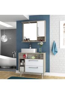 Gabinete Para Banheiro Cuba E Armário Com Espelho 80Cm Luise Móveis Bosi Barrique/Branco