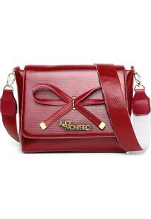 Bolsa Alice Monteiro Com Lacinho Frontal Alça Gorgurão - Vermelho