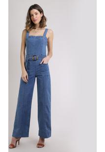 Macacão Jeans Feminino Flare Com Cinto De Fivela Azul Médio