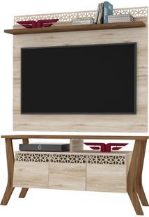 Rack Bancada Prime 03 Portas Com Painel Para Tv City New Vanilla/Canela - Frade Movelaria - Bege - Dafiti