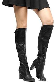 Bota Over The Knee Mississipi Cano Longo Metais Feminina - Feminino-Preto