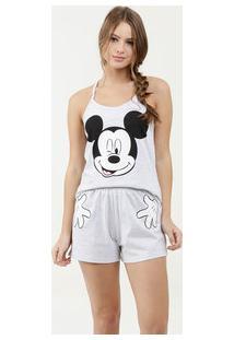 Pijama Feminino Estampa Mickey Alças Finas Disney