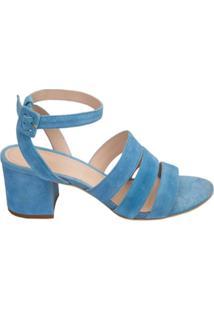 Framed Sandália 'Stripes' De Couro - Azul