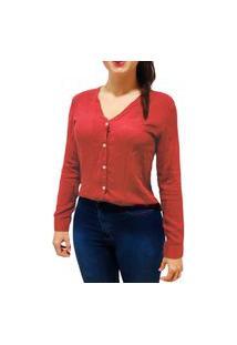 Camisa Blusa Feminina Social Manga Longa Gola V Vermelha
