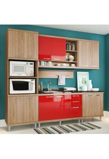 Cozinha Compacta Sem Tampo 12 Portas 5814 Argila/Vermelho - Multimóveis