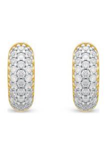 Brinco Ouro Amarelo Ouro Branco E Diamantes
