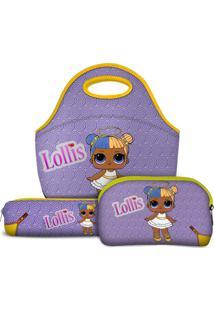 Kit Escolar Lollis Sugar - Lancheira Necessaire Estojo