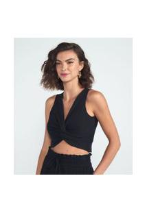 Blusa Cropped Lisa Com Torcido Frontal | A-Collection | Preto | P