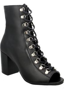 Ankle Boot Couro Via Paula Preto