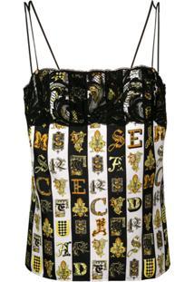 Versace Blusa Estampada 'Alphabet' - Branco