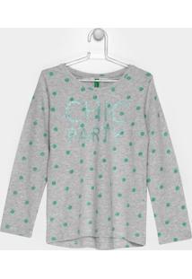 Camiseta Benetton Estampada Infantil - Feminino-Cinza Claro