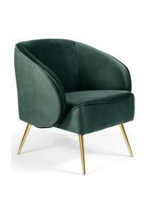 Poltrona Decorativa Fixa Pés Palito Metalizado Agnes Veludo Verde B-303 - Lyam Decor