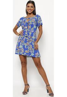 fb5486136 ... Vestido Floral- Azul   Verde- Clariáclaria
