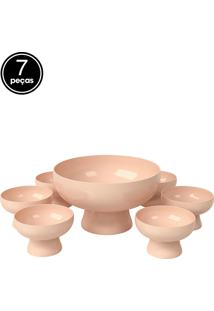 Kit 7 Pçs Saladeira Rosa Blush Coza Coza