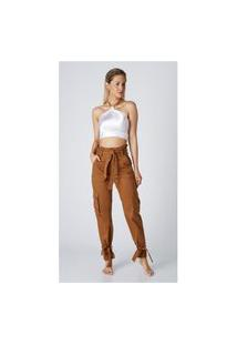 Calça Jeans Express Mom Clochard Priscila Mostarda Marrom
