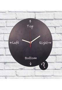 Relógio De Parede Madeira Top Left Right Cor Preto 30X30X2Cm