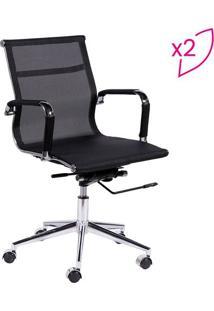 Jogo De Cadeiras Office Eames Em Tela- Preto & Prateado