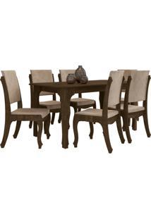 Conjunto Mesa De Jantar Onix Com 6 Cadeiras Marrom Rv Móveis - Tricae