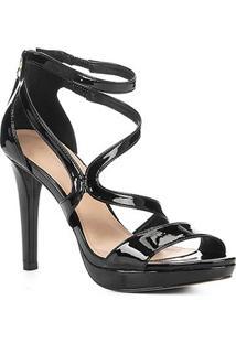 Sandália Shoestock Meia Pata Verniz Feminina - Feminino-Preto