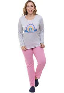 Pijama Feminino Longo Plus Size Arco-Íris Luna Cuore