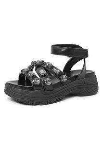 Sandália Com Pedraria Damannu Shoes Anette Preto
