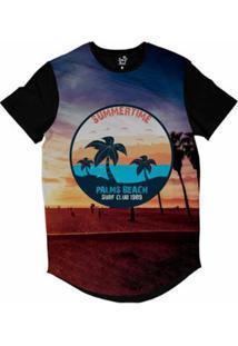 Camiseta Longline Long Beach California Palmeiras Sublimada Masculina - Masculino-Roxo
